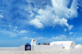 White and blue traditional cycladic architecture of heavenly designed alley, Santorini island