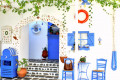 Traditional white and blue Greek tavern, Santorini island