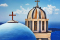 Vivid colors of elaborate domes of churches, Santorini island