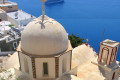Elaborate church dome and the blue sea, Santorini island
