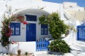 Traditional blue and white island house in Thira town, Santorini island