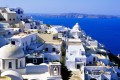 Sugar cubed houses and the vivid blue Aegean sea, Santorini island