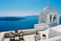 Breathtaking seaview from rooftop overlooking the sparkling Aegean sea, Santorini island