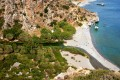 Secluded Preveli beach and river in the southern Crete at Rethymnon Perfecture