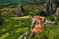 he Holy Monastery of Rousanou on the rock formations, Meteora