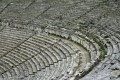 The stone seats of the ancient Greek theater of Epidaurus, Peloponnese