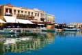 Port view of the traditional city of Rethymno, Crete island