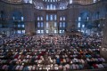 Muslim Friday prayer in the Blue Mosque in Istanbul, Turkey