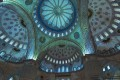 Interior view of the elaborate decoration and ceiling of Blue Mosque in Turkey