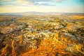 Panorama of Goreme valley and sandstone cave houses in Cappadocia, Turkey