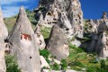 Uchisar landscape and rock carved houses, landmark of Cappadocia, Turkey