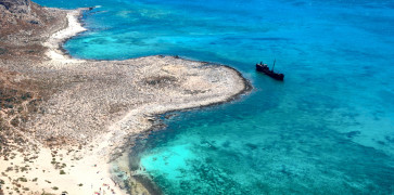 Famous shipwreck beach at Imeri Gramvousa islet near Chania city, Crete island
