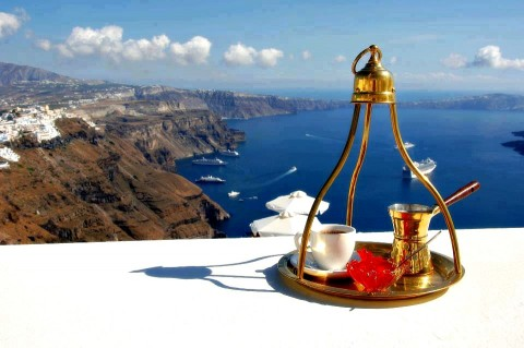 Greek coffee with caldera view on Santorini island