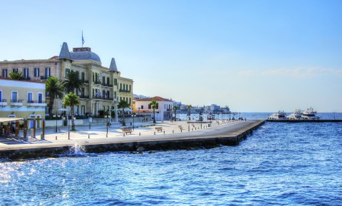 Port of Spetses island near Athens, Greece