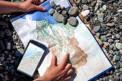 Photo of map and mobile