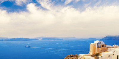 A Panoramic view of Santorini