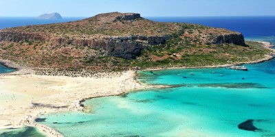 Exotic Balos Lagoon with Cap Tigani in the center, Chania city on the island of Crete