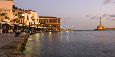 Chania city old port and lighthouse early in the morning, Crete island