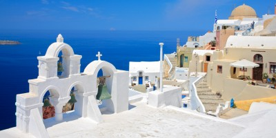 Church bells and the Aegean sea, Santorini island