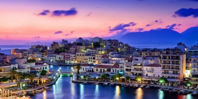 Agios Nikolaos port at night, Crete island