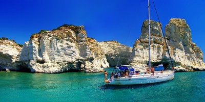 Turquoise waters and white rocks at Kleftiko area, Milos island