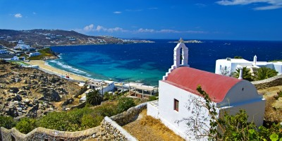Orthodox church on top of hill with amazing seaview, Mykonos island
