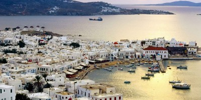 Port at dusk, Mykonos island