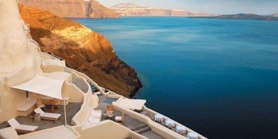 Caldera view from Mystique Luxurious Resort, Santorini island