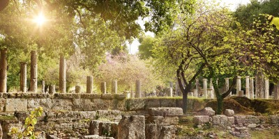 Ancient ruins at the archaeological site of Olympia, Greek mainland