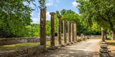 Ancient ruins of the archaeological site of Olympia, Peloponnese