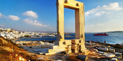 The gate to the temple of Apollo also known as Portara, a massive 2,500-year-old marble doorway that leads nowhere, Naxos island