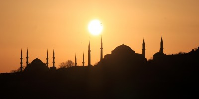 Silhouettes of Hagia Sophia and the Blue Mosque at sunset, Turkey
