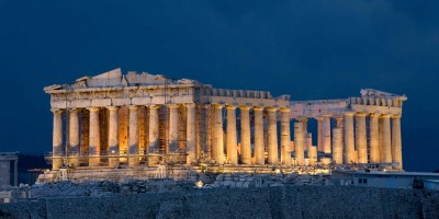 Night view of the floodlit monument of Acropolis