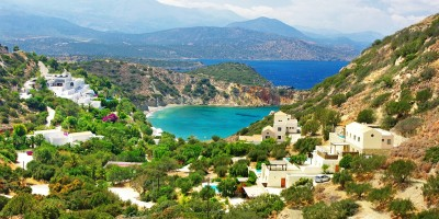 Turquoise lagoon in the mountains, Crete island