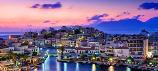 Agios Nikolaos port during sunset, Crete island
