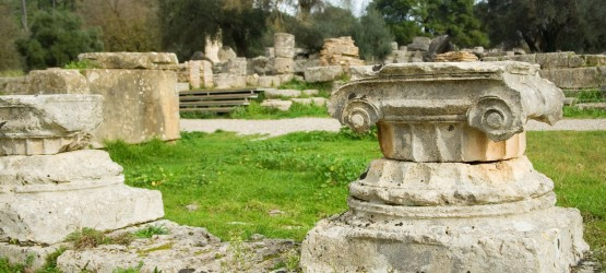 Ancient columns in Archea Olympia, the site where the Olympic Games were held in classical times