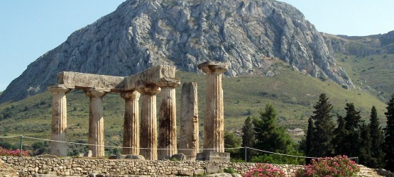 Ruins of the Temple of Apollo, ancient Corinth archaeological site