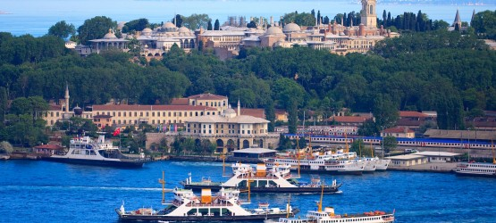 View of Topkapi Palace and Marmara sea in Istanbul, Turkey