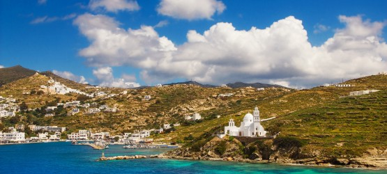 Port and exotic coastline, Ios island