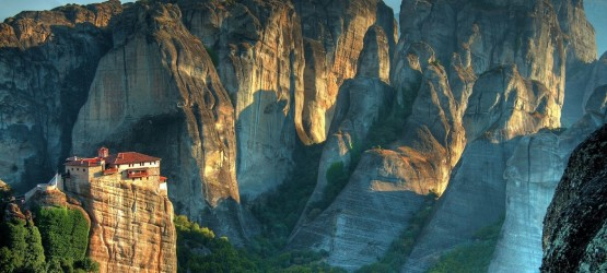 The Holy Monastery of Rousanou and the unique rock formations, Meteora