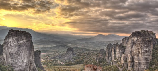 Amazing Meteora rock formations during sunset, Greek mainland