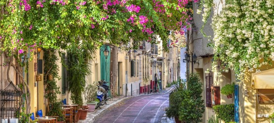 Picturesque flowery alley in Plaka area, Athens