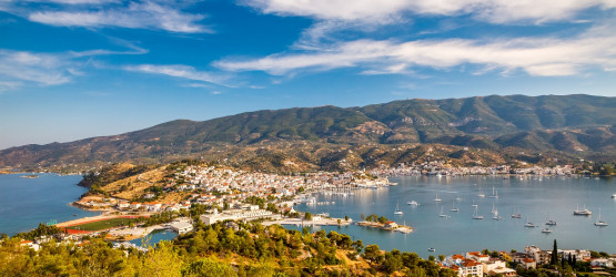 Aerial view of Poros island and Galatas village