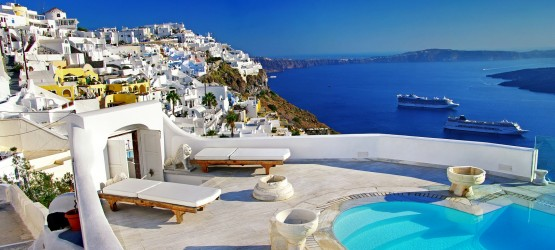 Pool and caldera view, Santorini island