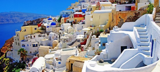 Colorful sugar cubed houses of Cycladic architecture, Santorini island