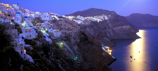 Moonlight bathed Santorini island